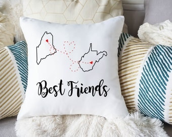 Best Friend Long Distance Gift - Best Friend Pillow Cover - Gift for Best Friend - Long Distance Friendship - State to state throw pillow