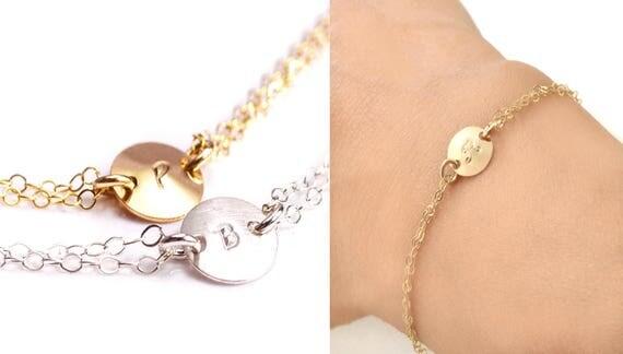 Gold Initial Bracelet, Personalized Bracelet, Custom Bracelet, Silver Initial Bracelet, Disc Bracelet, Coin Bracelet, Mothers Bracelet