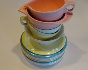 Stack of Boonton Melmac Dishes Made in Boonton NJ USA Mid Century Melmac Dishes Pastel Melamine