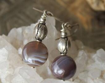 Botswana agate stone and Silver earrings