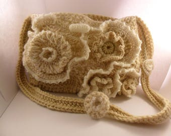 Free form crochet wool purse. Free shipping