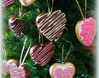 Heart Cookie Ornaments Frosted Cookies Chocolate Hearts Fake Candy Decoration Christmas Valentines Day ornament