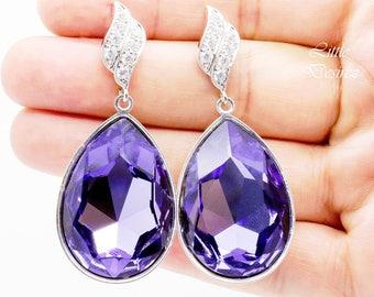 Large Purple Earrings Teardrop Earrings Amethyst Earrings Statement Earrings Swarovski Pear Fancy Stone Tanzanite Cubic Zirconia TZ42E