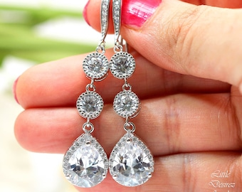 Wedding Earrings Bridal Earrings Cubic Zirconia Earrings Bridesmaid Gift Wedding Jewelry White Crystal Bride Earrings Hypoallergenic SPARKLE