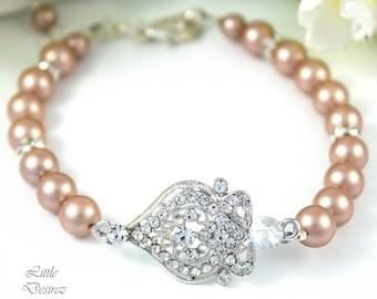 Champagne Pearl Bracelet Wedding Bracelet Bridal Bracelet Rhinestone Pendant Bracelet Swarovski Champagne Pearl Bridesmaid Bracelet ARIANA