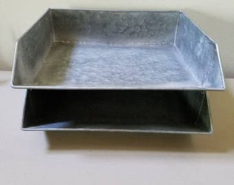 1 Galvanized Stackable Paper Tray File Holder Mail Desk Office Supplies  Farmhouse