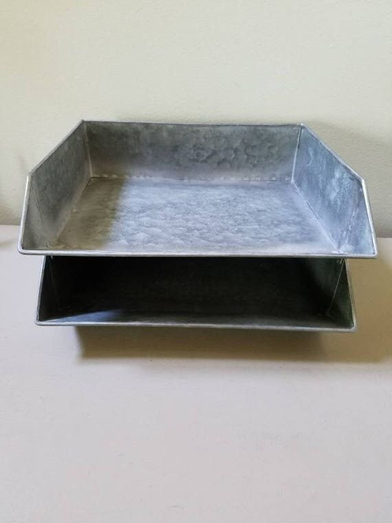 1 Galvanized Stackable Paper Tray File Holder Mail Desk Office