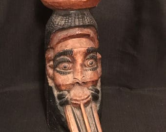 Wood Carved Ashtray Bearded Guy Smoking a Pipe Unique Conversation Piece Large African Art Man Cave