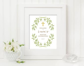 Printable Christening Baptism Welcome Sign (Ch12)