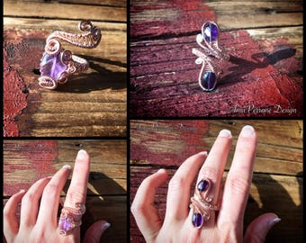 15% OFF SALE Rose Gold Wire Wrapped Ring Deep Amethyst Light Amethyst, Adjustable