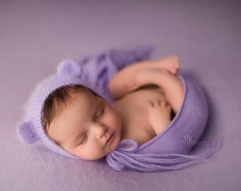 Cashmere Cozy Knit Wrap, Soft Newborn Wrap, Stretch Knit Wrap, Newborn Photo Prop - lavender
