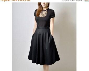 AUGUST 20 % OFF Midi Skirt, High Waisted Midi Skirt, Black Flared Skirt, 50s Skirt