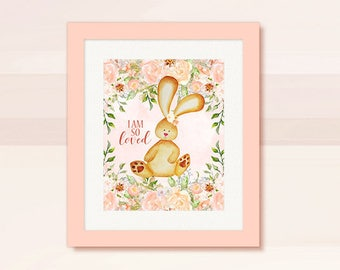 BEAUTIFUL Bunny Nursery Wall Art, Pink Watercolor Bunny & Floral design Nursery Room Wall Decor, Instant Download, Digital Image