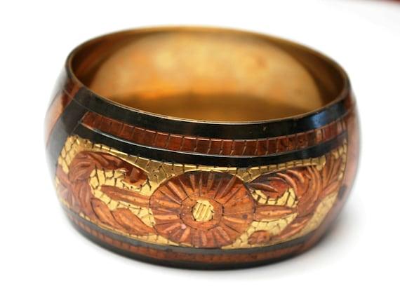 Boho Brass Copper  bangle - Chunky  Mossaic design -  copper inlay - grey oxidized -   bracelet