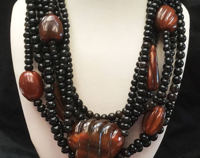Chunky Boho Bead torsade Necklace - multi strand - Gerda Lynggaard Monies Style - Black Brown marble Resin Beads - Statement neckace