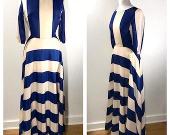 Blue And Cream Striped Maxi Dress 1970s Long Sleeve Maxi Long Garden Party Dress Casual Wedding Guest Dress Summer Party Dress Gown