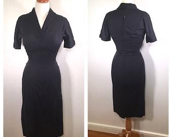 1950s Navy Pencil Dress Vintage Midi Wiggle Dress Blue Linen Day Dress Jonathan Logan Shift Dress Wedding Guest Dress Small