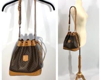 Celine Bucket Bag / Celine Paris Bag Vintage Celine Purse Drawstring Bucket Bag Monogrammed Celine Bag 80s Celine Large Bucket Bag