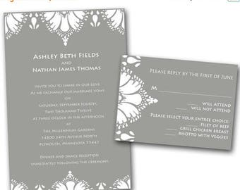 ON SALE Lace Damask Wedding Invitation Set -  Wedding Invitation, Gray and White, Rustic, Country Weddings, Damask, Rsvp card