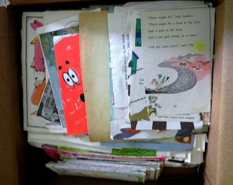 PIF... Ephemera...mostly pages from Children's books and road maps