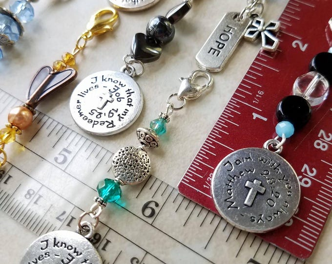 Christian Keychain Zipper Charms Bible verse gift Religious stocking stuffer Christian teacher gift Religious Christian Gift