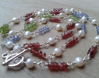 Multi gemstone sterling silver necklace