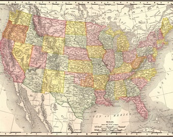 Vintage Usa Map Etsy - Antique us map