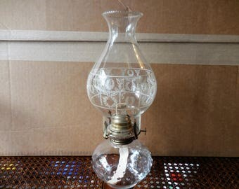 Vintage Kerosene  Glass Lamp