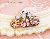 Swarovski Peach and White Opal Double Set Drop or Connector Brass, Black or Antique Silver Settings - 2