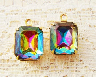 Vintage Swarovski Rainbow Vitrail 12x10mm Octagon Faceted Glass Set Stones in Antique Silver or Brass Drop or Connector Settings - 2