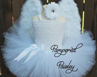 Halloween sale Baby Angel tutu costume, baby Halloween costume, angel outfit, angel costume, tutu costume, tutu dress, girls angel dress