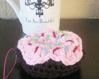 CHOCOLATE or STRAWBERRY DONUT with Sprinkles Hand Crochet approx 4""