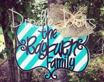 Family Name Door Hanger w/ Stripes