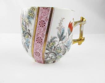 A Victorian Shaving Mug - Multi-colored - Orange, Blue, Lavender and Grey Floral - Decorated - Moustache or Shaving Mug