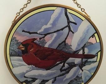 Vintage Red Cardinal Winter Holiday Gift National Audubon Society Glassmasters Suncatcher Window Art Chuck Ripper 1980's