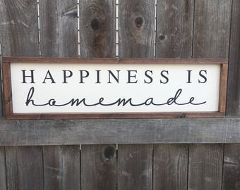 Happiness is homemade painted wood sign