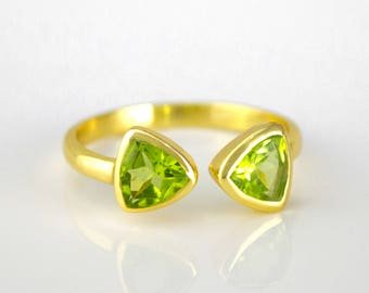 August Birthstone Ring, Peridot ring, adjustable ring mothers ring triangle ring geometric ring dual birthstone ring DOUBLE BIRTHSTONE RING
