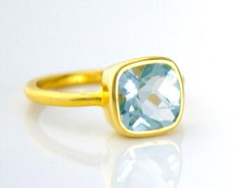 Gold Blue Quartz Ring - Gemstone Ring - Blue Topaz - Cushion cut ring - Stacking ring - December Birthstone Ring - Bezel Set Ring