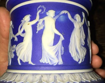 19th Century Wedgwood Jasperware Sugar Base or Container Neoclassic Cobalt Background Stamped Wedgwood