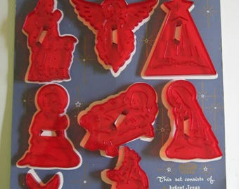Vintage Nativity Cookie Cutters Red Plastic HRM Original Card New Old Tree Ornaments Educational Product Hope New Jersy