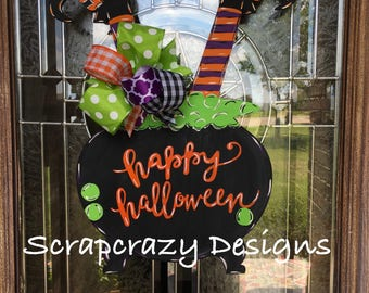 Witch door hanger, halloween door hanger, wood door hanger, door hanger