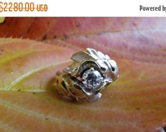 DEADsy LAST GASP SALE Glory: Antique Euro Cut Diamond Engagement Ring // Recycled Diamond in 14K Yellow Gold Leaf  // Vintage Wedding Jewelr