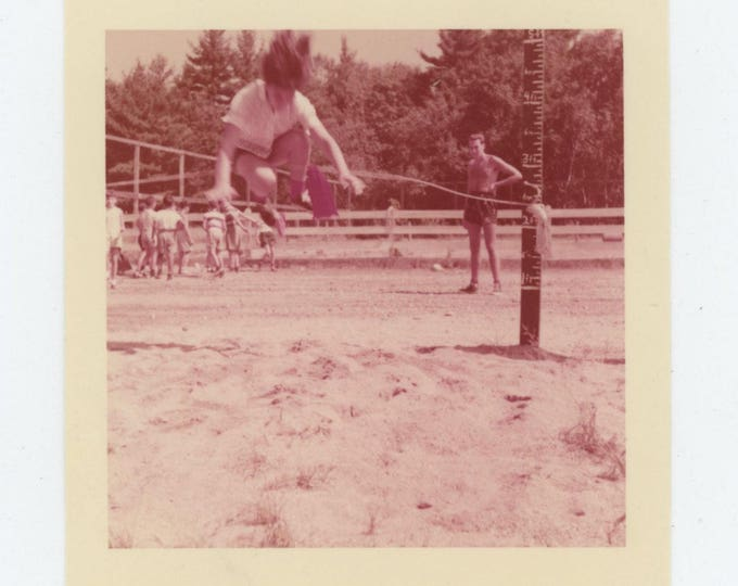 Vintage 1955  Kodacolor Print Snapshot Photo: High Jump (712632)
