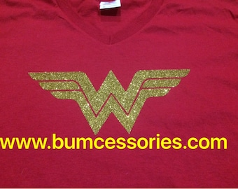 Wonder Woman Shirt T-shirt WonderWoman Logo Sparkle Glitter Red T-Shirt