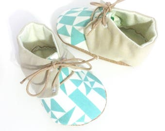 Baby Oxfords Organic Blue Geometric Soft Sole Baby Shoes