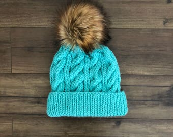 Adirondack Beanie with Faux Fur Pom Pom