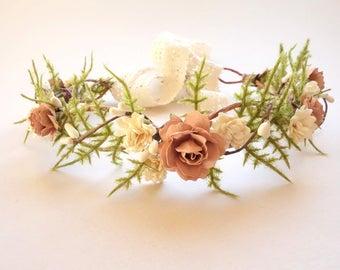 Flower Girl Crown, Blush Wedding, Bridal Flower Crown, Mommy & Me Crown, Simple Flower Crown, Maternity Photo Shoot, Fern Crown DUSTY ROSE