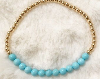 14k gold and turquoise magnesite beaded stretch bracelet; turquoise bracelet; gold bracelet
