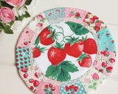 sweet vintage strawberry patchwork doily