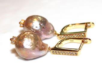 Modern Pearl Earring Large Baroque Pearl Bridal Earring Wedding Earring Bridesmaid Jewelry Iridescent Pearl Large Pearl Earring Baroque